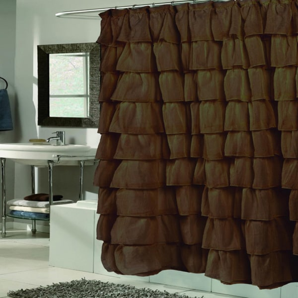 Elegant Brown Crushed Voile Ruffled Tier Shower Curtain (As Is Item)