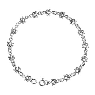 Celtic Pretzel Infinity Heart Link .925 Sterling Silver Bracelet (Thailand)
