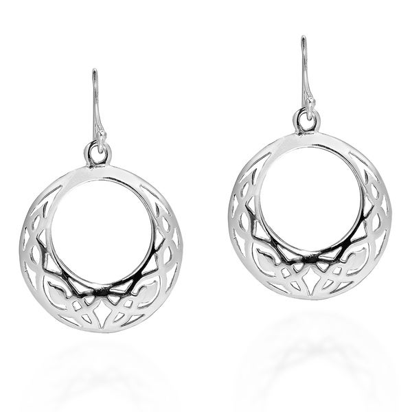 Celtic Knot Open Circle Sterling Silver Dangle Earrings (Thailand)