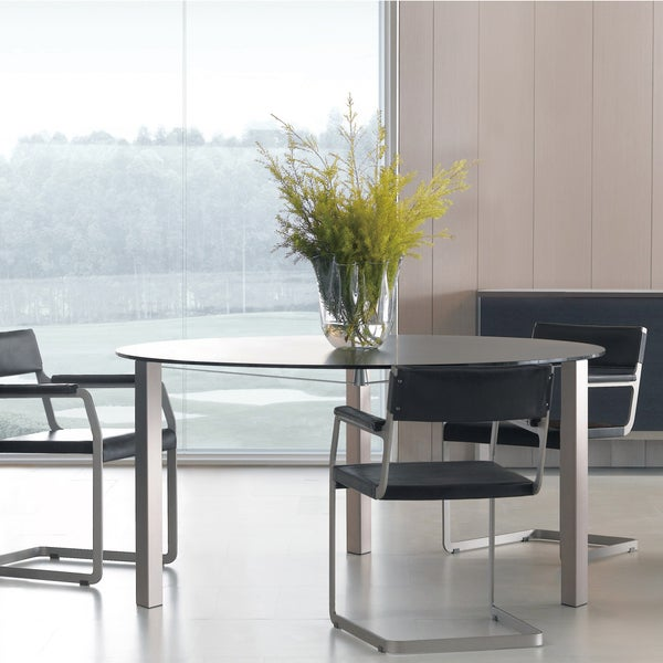 Argo Furniture Rimini Three-legged Round Glass Top Dining Table