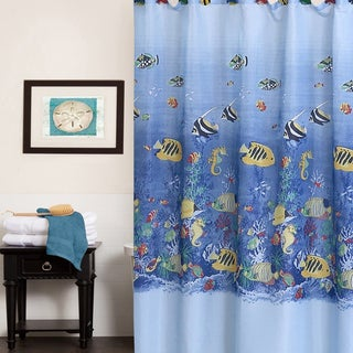 Colorful Tropical Sea Printed Fabric Shower Curtain - Multi-color