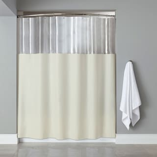 Antibacterial-microbial Mildew-resistant 'See Through Top' Ivory Shower Curtain