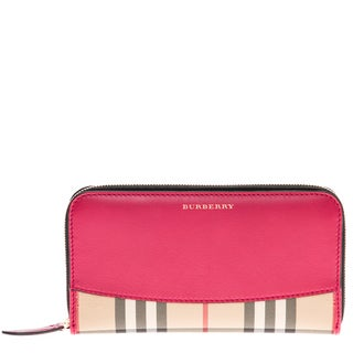 Burberry Pink Horseferry Check and Leather Zip-around Wallet