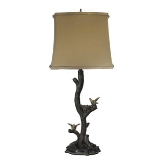 Sterling Chicks On A Branch In Dark Bronze With Silver Leaf Table Lamp