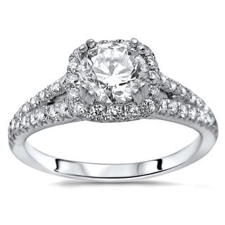 Noori Certified 18k White Gold 1 2/5ct TDW Round Enhanced Split Shank Engagement Ring (G-H, SI1-SI2)