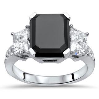 Noori Certified 18k Gold 4 1/2 TDW Black Trazpezoid 3-stone Diamond Engagement Ring (H-I, SI1-SI2)