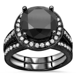 Noori Certified 14k Black Gold 4ct TDW Black Diamond Bridal Ring Set