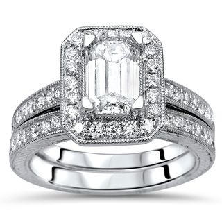 Noori 14k White Gold 1 3/4ct TDW Emerald Cut Diamond Engagement Ring Set (G-H, SI1-SI2)