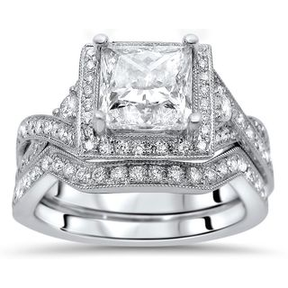 Noori Certified 18k White Gold 1 9/10ct TDW Enhanced Diamond Engagement Ring Set (G-H, SI1-SI2)