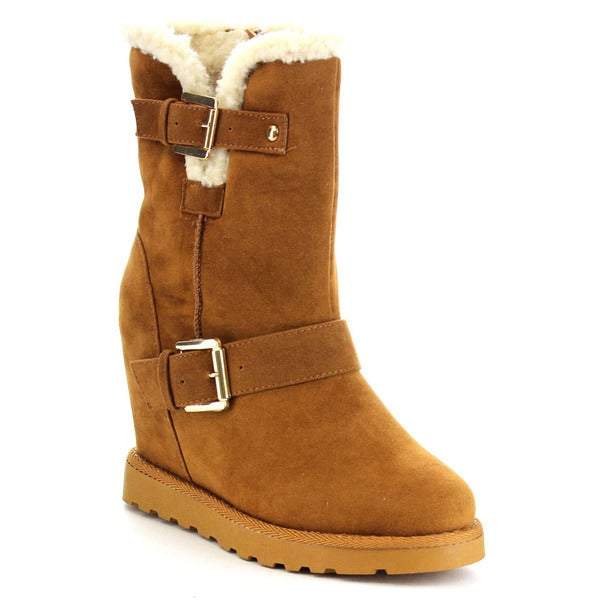 Nature Breeze Brooks-02 Women's Wedge Side Buckle Winter Fur Boots