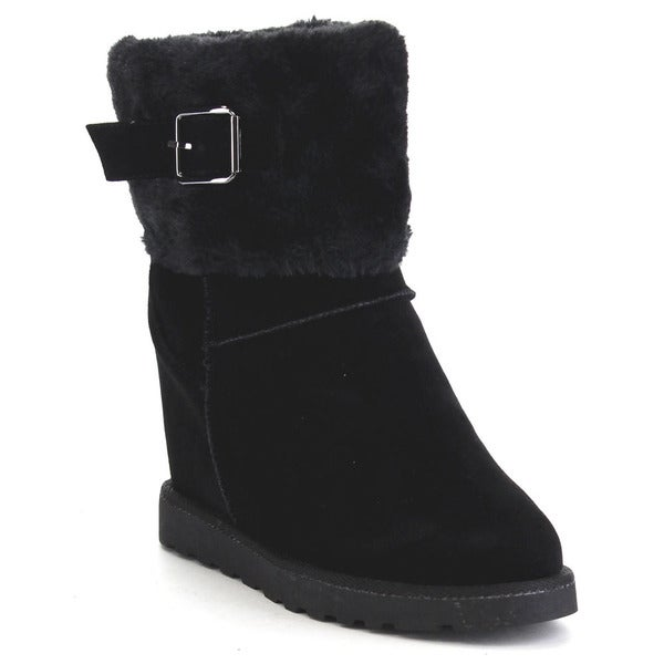 Nature Breeze Brooks-03 Women's Faux Suede Hidden Wedge Mid-calf Fur Boots