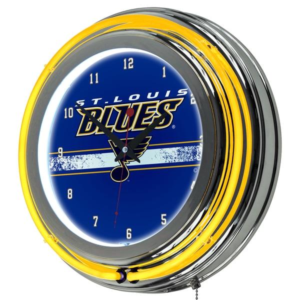 NHL Chrome Double Rung Neon Clock - St. Louis Blues 16572482