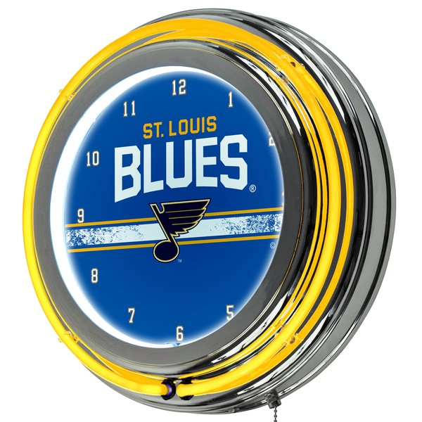 NHL Chrome Double Rung Neon Clock - St. Louis Blues 16572482