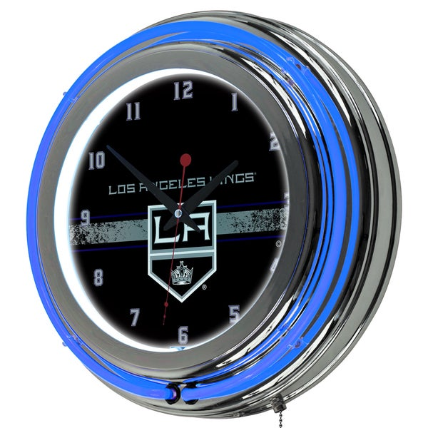 NHL Chrome Double Rung Neon Clock - Los Angeles Kings