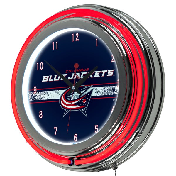 NHL Chrome Double Rung Neon Clock - Columbus Blue Jackets 16572506
