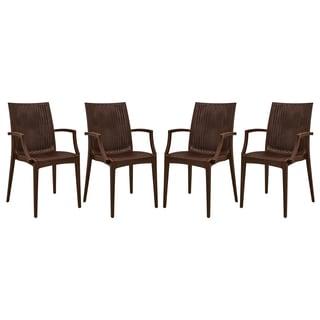 Somette Mace Brown Armchair Set of 4