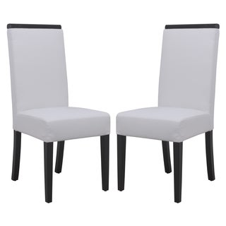 Somette Elroy White Faux Leather Dining Chair (Set of 2)