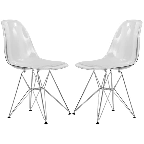Somette LeisureMod Cresco Molded Eiffel Clear Side Chairs (Set of 4)