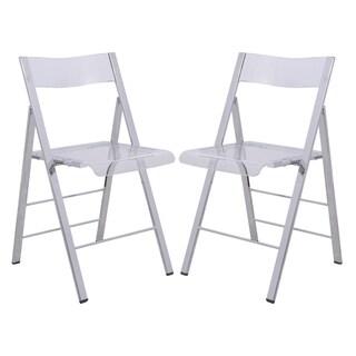 LeisureMod Menno Transparent Folding Chair (Set of 2)