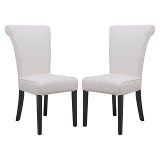 Somette Eden White Faux Leather Dining Chair (Set of 2)