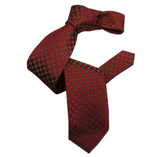 Dmitry Men's Red Square Patterned Italian Silk Tie