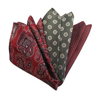 Dmitry Men's Italian Silk Red Patterned Pocket Squares (Pack of 3)