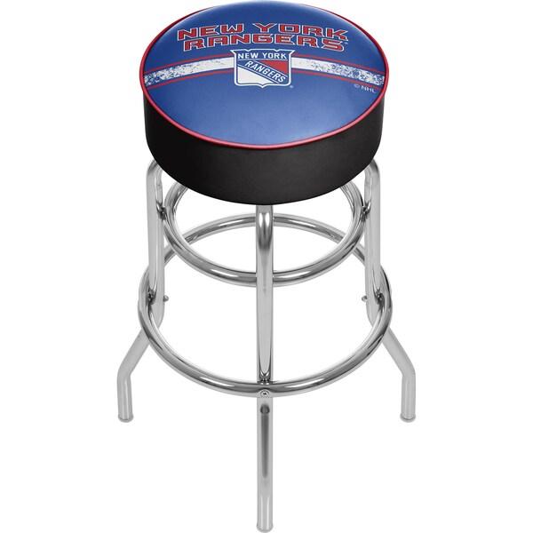 NHL Chrome Bar Stool with Swivel - New York Rangers