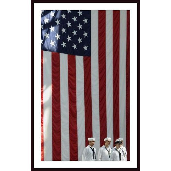 Stocktrek Images 'Sailors Stand in Front of the American Flag Ready to Sing the Navy Hymn' Framed Art