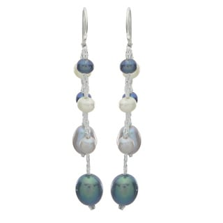 Pearls For You Sterling Silver Dyed Multi-color Freshwater Pearl Dangle Earrings (4-8 mm)