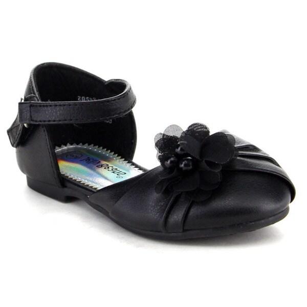 Beston Girl's Flower Embellishment Ankle Strap Flat Sandal