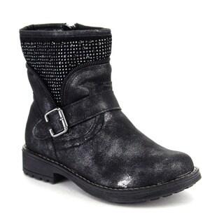 Beston GA64 Girls' Comfort Rhinestone Deco Side Zipper Mid Calf Booties