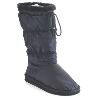 Beston EA25 Women's Soft Lace Up Mid-Calf Flat Snow Boots