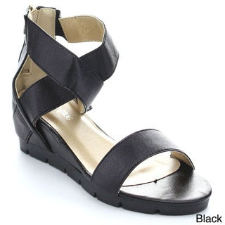 BELLAMARIE BEVERLY-1 Women's Criss Cross Strap Back Zip Lug Sole Wedge Sandals
