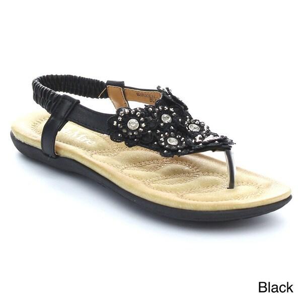 BELLAMARIE BIRKEN-11 Women's Adorable Thong Toe Rhonestone Flower Comfort Sandal