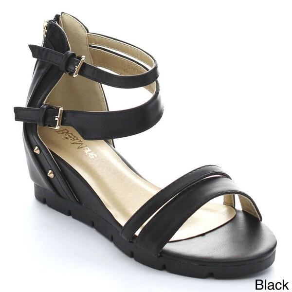 BELLAMARIE BEVERLY-5 Women's Stud Back Zip Strappy White Lug Sole Wedge Sandals