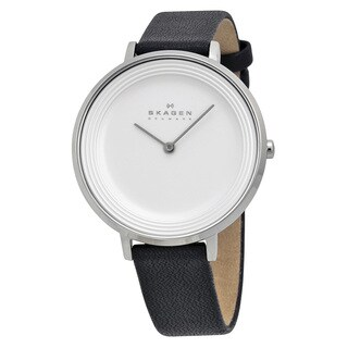 Skagen Women's SKW2261 Ditte Analog Silver Dial Black Leather Watch