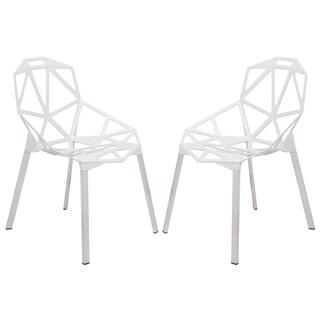 LeisureMod Dalton White Iron Chair (Set of 2)