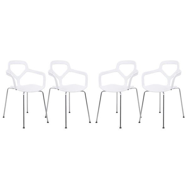 Somette LeisureMod Modern Oyster Clear Side Chair