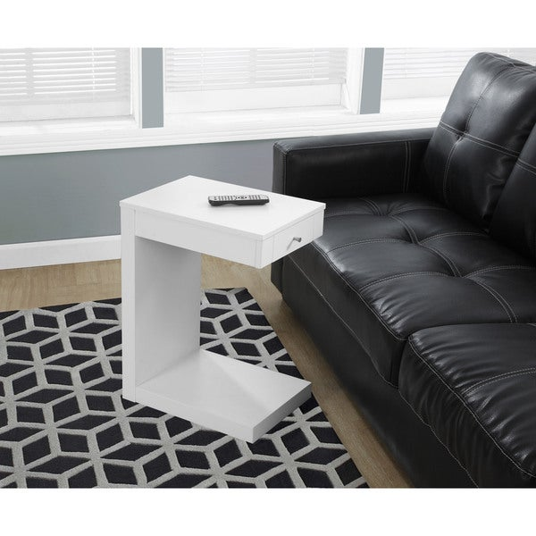 Accent Table White with Drawer