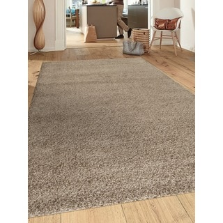 Soft Cozy Solid Brown Indoor Shag Area Rug (3' x 5')