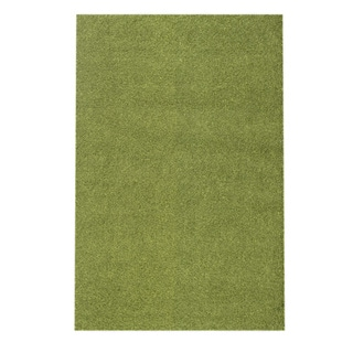 Soft Cozy Solid Green Indoor Shag Area Rug (3'3 x 5')
