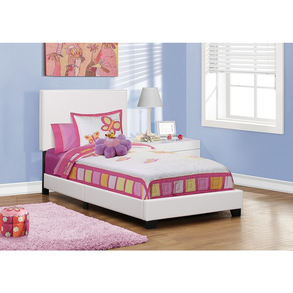 Twin Size White Leather-look Fabric Bed