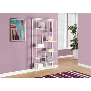 """BOOKCASE - 72""""H / WHITE METAL WITH TEMPERED GLASS"""