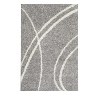 Soft Cozy Contemporary Stripe Light Grey White Indoor Shag Area Rug (3'3 x 5')