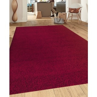 Soft Cozy Solid Red Indoor Shag Area Rug (7'10 x 10')