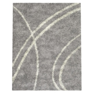 "Soft Cozy Contemporary Stripe L. Gray White 7'10"" x 10' Indoor Shag Area Rug"