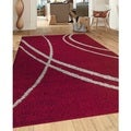 Soft Cozy Contemporary Stripe Red Grey Indoor Shag Area Rug (7'10 x 10')