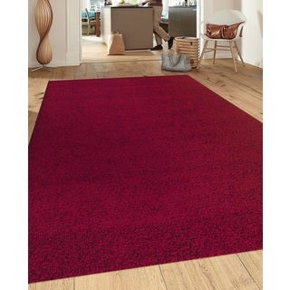 Soft Cozy Solid Red Indoor Shag Area Rug (5'3 x 7'3)