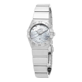 Omega Women's 123.10.24.60.55.003 'Constellation' Mother of Pearl Diamond Dial Stainless Steel Swiss Quartz Watch