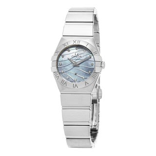 Omega Women's 123.10.24.60.57.001 'Constellation' Blue Mother of Pearl Diamond Dial Stainless Steel Quartz Watch
